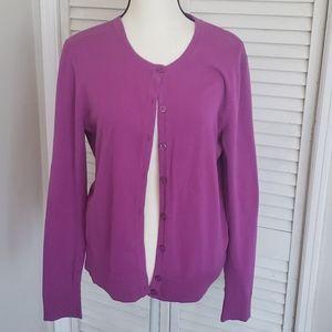 Fuschia Cardigan Sweater, 92% Cotton, XL